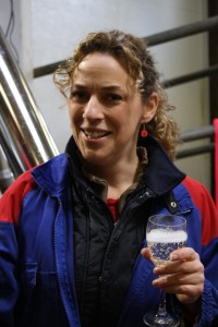 Erin enjoying Champagne while the robot milks the cows. Mar 21/12