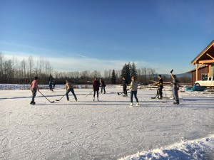 Enjoying the fabulous winter weather on the pond at Eagle Acres!