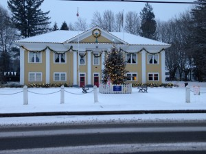 The local beauty of our Fort Langley Hall on a peaceful winter morning.